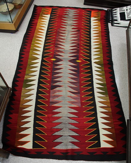 "01 - Navajo Textiles, HUGE 9 1/2' Room or Hallway Antique Navajo Runner: c. 1890 (56"" x 114"") 9 1/2' long c. 1890, Handspun wool"