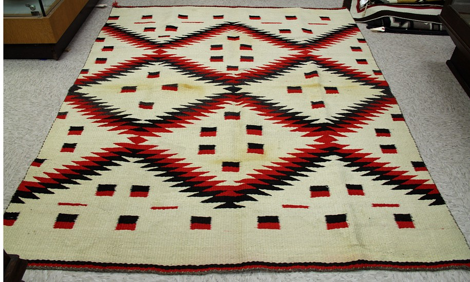 "01 - Navajo Textiles, circa 1880 Navajo Transitional Blanket Red/Black/White 56"" x 69"" 1880, Handspun wool"