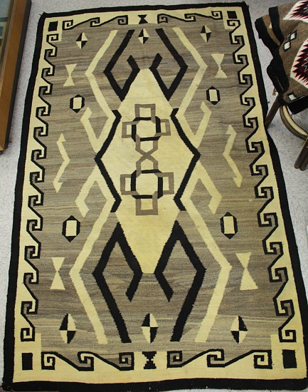 "01 - Navajo Textiles, Navajo Crystal Natural Rug: Hooks and Border Motif (53"" x 90"") Prof. Cleaned, some yellowing remains c. 1913, Handspun wool"