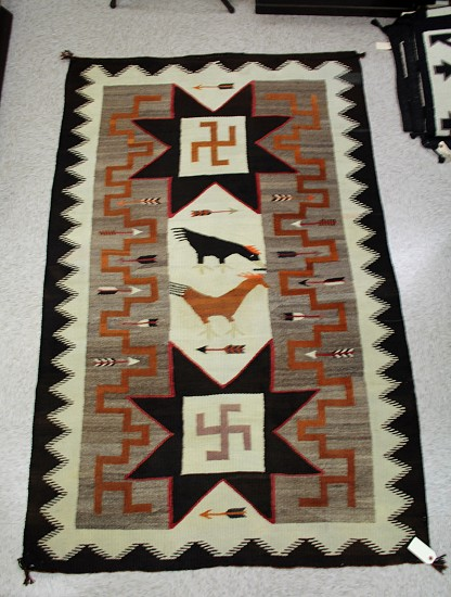 "01 - Navajo Textiles, LARGE Antique Navajo Rug: c. 1920 Crystal Chickens Pictorial, Mint Condition (48"" x 78"") 1910-1920, Handspun wool"