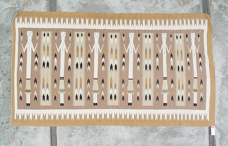 "01 - Navajo Textiles, Beautiful Navajo Yei Rug in soft ""desert sand"" colors and carded grey field 35""x62"" 1979, Wool"