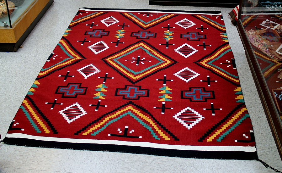 "01 - Navajo Textiles, Navajo Germantown Revival: c. 1990 Fine and Tight Weave, Mint Condition (60""x81"") 1990, Wool"