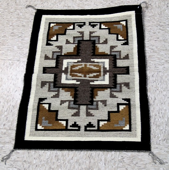 "01 - Navajo Textiles, Navajo Two Gray / Grey Hills rug, 27""x18"", very fine and tight tapestry 1980"