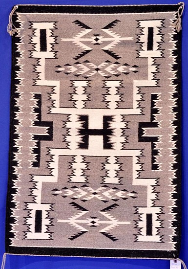 "01 - Navajo Textiles, Intricate Navajo Storm Pattern Rug in Natural Sheep wool colors, 36""x25"" 1980"
