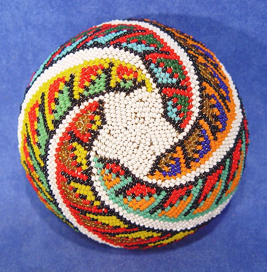 "02 - Indian Baskets, Paiute Beaded Basket: White Field, Star Motif on Base, Serrated Spiral Motif (2.25"" ht x 4.25"" d) c. 1950, Willow and glass seed beads."