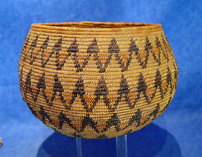"02 - Indian Baskets, LARGE Antique Mission Basket: c. 1910 Globular Bowl, Polychrome, Sunburst Motif (11"" d. x 7"" ht.) c. 1910, Juncus, dyed juncus and sumac"
