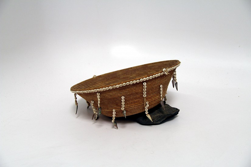 "02 - Indian Baskets, Antique Pomo Basketry: c. 1890 Treasure Basket with Shell Dangles (3 1/4"" ht x 9 1/2"" d) c. 1890"