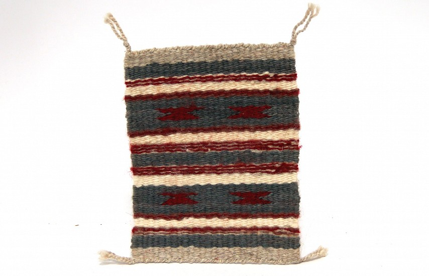 "01 - Navajo Textiles, Miniature Navajo Rug: c. 1970-90 Banded Chinle, Grey, Red, Green, White (5"" x 6.5"") 1970-1990, Handspun wool"