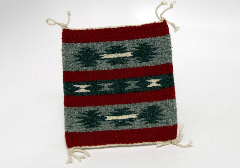 "01 - Navajo Textiles, Miniature Navajo Rug: c. 1970-90 Diamond Motif, Mint Condition (6"" x 6.5"") 1970-1990, Handspun wool"
