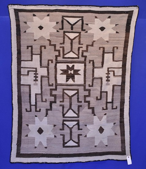 01 - Navajo Textiles, Antique c. 1900 Navajo Crystal Regional Rug: Stars Motif, Hand-Carded Grey, Natural Brown and Cream 1900, Handspun wool