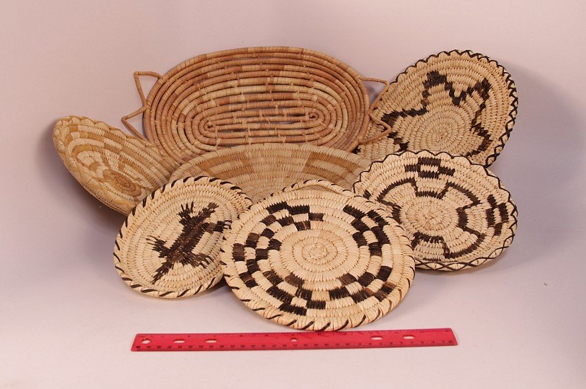"02 - Indian Baskets, GROUP of SEVEN (7) Papago/Tohono O'Odham Baskets: Mid-20th century (up to 16 3/4""d) Mid-20th century, Yucca and Devil's claw"