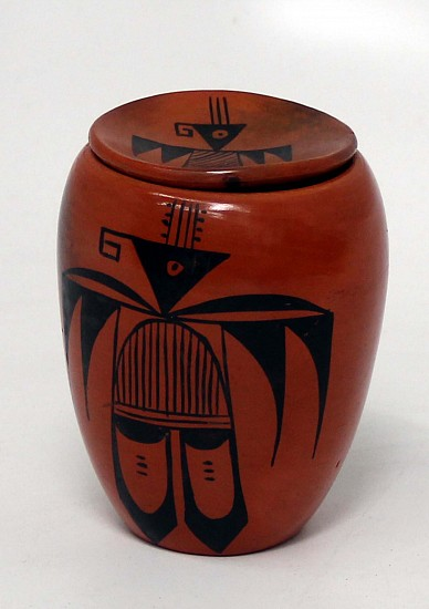 "03 - Pueblo Pottery, Hopi Pottery: Jar by Carol Namoki, Black on Red, Lidded, Thunderbird Motif (4.25"" ht) Hand coiled clay pottery"
