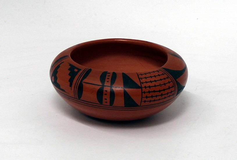 "03 - Pueblo Pottery, Hopi Pottery: Bowl by Carol Namoki, Black on Red (2.5"" ht x 5.5"" d)"