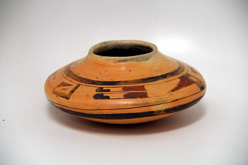 "03 - Pueblo Pottery, Antique Hopi Pottery: Jar attr. Nampeyo Period 3 (1910-1917) (4"" ht x 9"" d) c. 1910-1917, Hand coiled clay pottery"