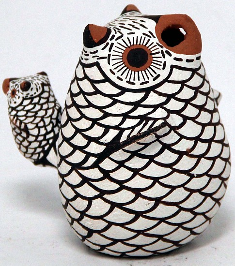 "03 - Pueblo Pottery, Zuni Pottery: 1996 Owl and Baby Owl, by E. Katestewa (3.25"" ht) 1996, Hand coiled clay pottery"