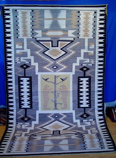 "01 - Navajo Textiles, HUGE Navajo Rug: c. 1970 Tree of Life Pictorial, Storm Pattern, with Two Standing Bears, Near Mint/Mint Condition (5' 7"" x 9'3"") 1970, Handspun wool"