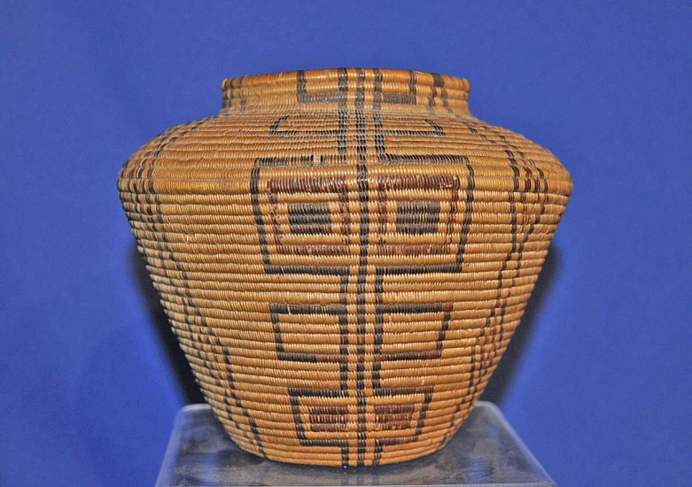 "02 - Indian Baskets, Fine Antique Panamint Basketry: c. 1890 Polychrome Olla, Vertical Motif (5.25"" ht x 6"" w) c. 1890, Willow, Redbud, Devils claw"