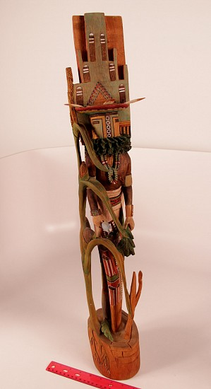 "05 - Kachinas and Dolls, Double Hopi Kachina: Hemis & Hemis Mana by Delbert Silas (29"") Hand Carved and Painted Cottonwood Root"