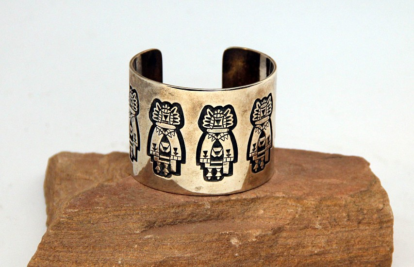 "08 - Jewelry-New, Hopi Cuff Bracelet by Marcus Lomayestewa: Crow Mother Motif (5 3/4"" + 1"" gap) Sterling silver"