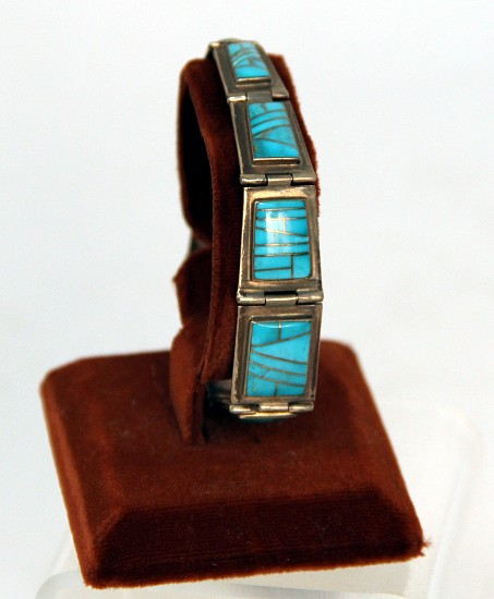 "08 - Jewelry-New, Navajo Link Bracelet, Hallmarked: Turquoise Channel Inlay (8.25"")"