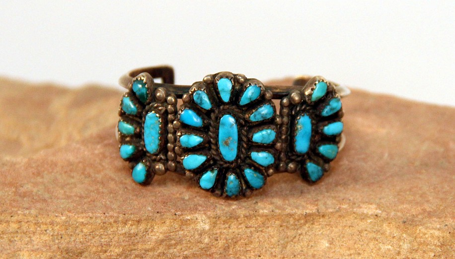 "07 - Jewelry-Old, Small Zuni Petit Point Cuff: Turquoise Cluster (3.75"" + 1"" gap) c. 1950, Sterling Silver and Turquoise"