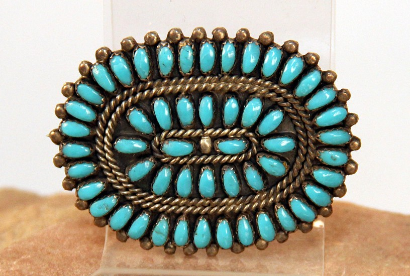 "07 - Jewelry-Old, Zuni Pin, Hallmarked ""P & V BYJOE"": Turquoise Petit-Point Cluster (1.75"" x 2"") c. 1960, Sterling Silver and Turquoise"