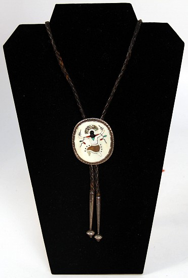 "07 - Jewelry-Old, Zuni Bolo Tie: Apache Gahn Dancer, Bone, Mother of Pearl, Coral, Abalone (2 1/8"") c. 1960s"