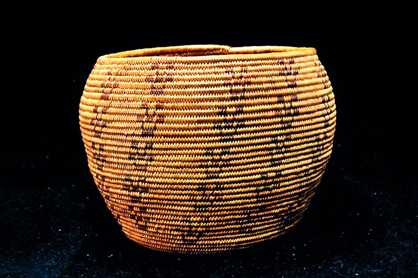 "02 - Indian Baskets, Antique Maidu Basketry: c. 1890 Polychrome Bowl, Vertical Motif (4.5"" ht x 6"" w) c. 1890"