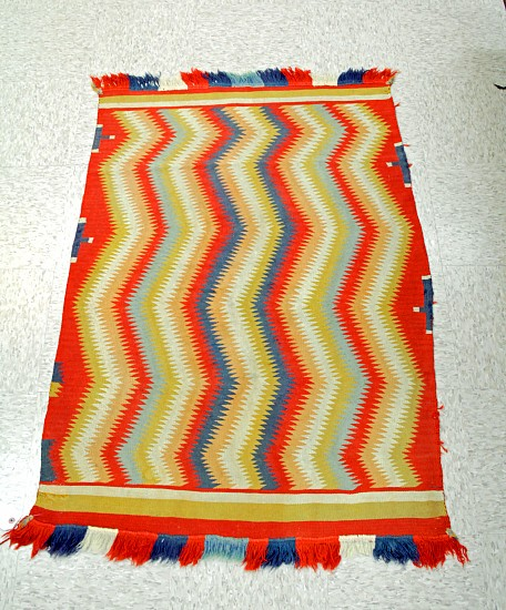 "01 - Navajo Textiles, Antique Navajo Germantown Childs Blanket Eyedazzler c1880 32""x49"" 1880"