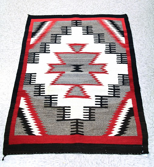 "01 - Navajo Textiles, Antique Navajo Rug, early 20th century, 46"" x 32"", smooth singleply Navajo handspun sheep wool yarn 1930s, Handspun wool"