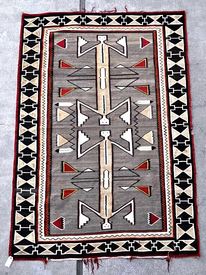"01 - Navajo Textiles, Navajo Rug: RARE c. 1910 Teec Nos Pos Two-Figure Double-Headed Dragonfly Yei, needs repairs (61"" x 88"") circa 1910, Handspun wool"