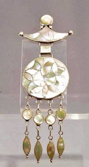 "07 - Jewelry-Old, Pin by Master Jeweler Frank Vacit: Inlaid Mother of Pearl (6"") c. 1970"