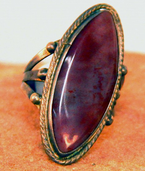 07 - Jewelry-Old, Navajo Ring: Petrified Wood Oval Setting in Sterling Silver, size 10 c.1940-50