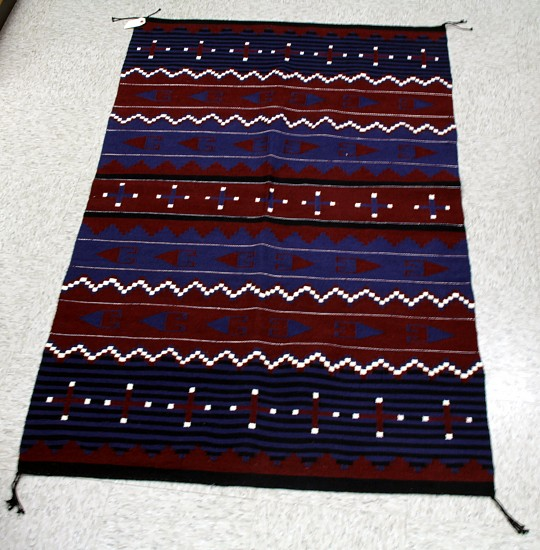 "01 - Navajo Textiles, Hubbell Moki Revival: c. 1980 Modern Indigo and possibly Cochineal? Mint Condition (40"" x 66"") 1980"