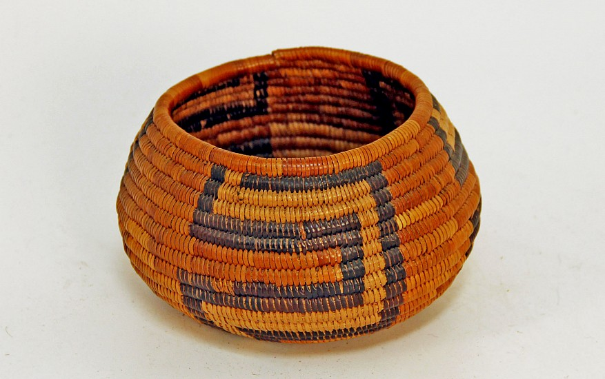 "02 - Indian Baskets, Antique Mission Basket: c. 1920 Cahuilla (Palm Springs) Bowl (5"" x 3.25"") c. 1920, Juncus, dyed juncus and sumac"