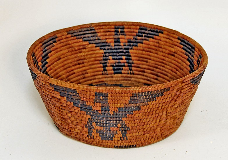 "02 - Indian Baskets, Antique Mission Basket: c. 1920 Cahuilla (Palm Springs) Bowl with Eagle Motif (10"" x 4"") c.1920"
