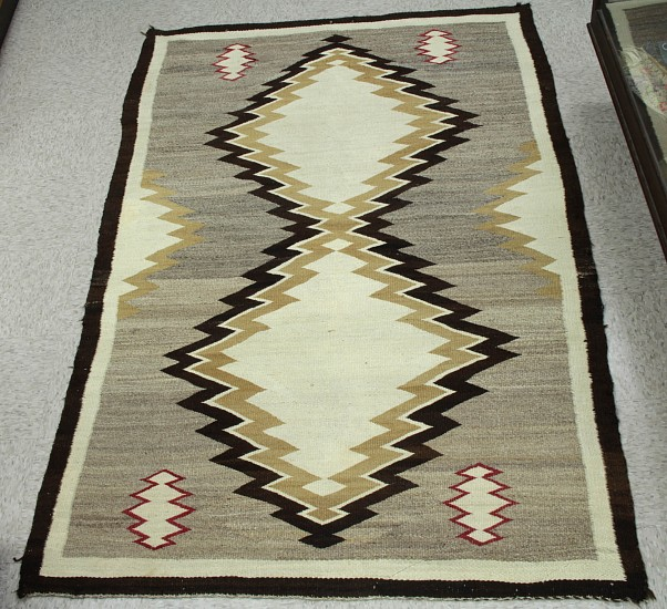 "01 - Navajo Textiles, Large Antique Navajo Natural Rug: c. 1920s Crystal, White Serrated Diamond Motif, Grey Field, Brown Border (49"" x 78.5"") c. 1920s, Handspun wool"