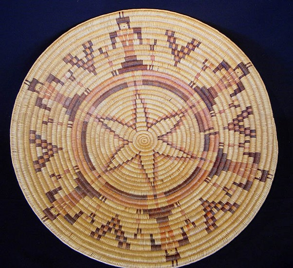 "02 - Indian Baskets, Large Navajo/Ute Basketry: c. 1975 Pictorial Tray (29"" d) c. 1975, Willow"