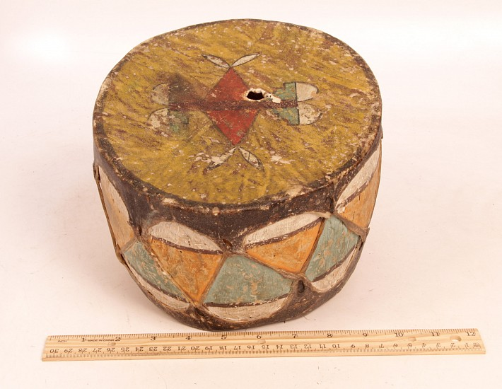 "13 - Miscellaneous, Antique c. 1910s Pueblo Painted Drum (5"" ht x 8 1/2"" d) c. 1910s"