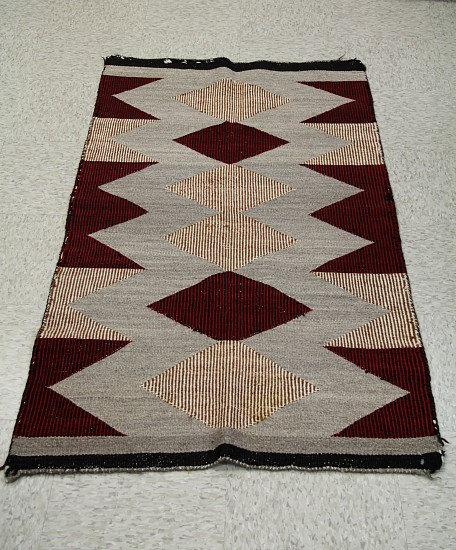 "01 - Navajo Textiles, Early Navajo TWilled Weave Double Saddle Blanket: c. 1940s Twilled, Diamond Motifs (29"" x 57"") c. 1940s, Handspun wool"