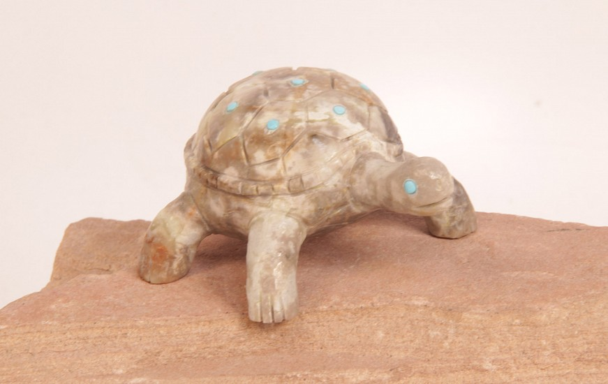 "06 - Zuni Fetishes, Zuni Fetish by Mattias Hustito: Turtle, Picasso Marble with Turquoise (1.25"" ht x 2.75"" w x 3.25"" l) Contemporary, Picasso Marble"