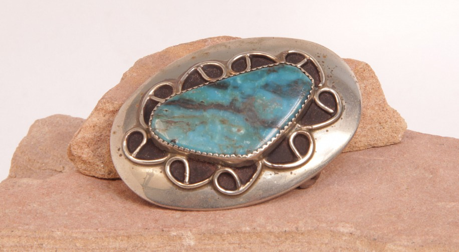"07 - Jewelry-Old, Navajo Belt Buckle: Oval, Turquoise Setting, Sterling Silver Overlay (1.5"" x 2.25"") c. 1970, Sterling Silver and Turquoise"