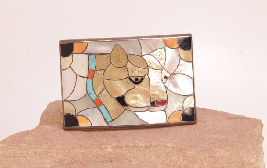 "07 - Jewelry-Old, Zuni Belt Buckle by Porfilio Sheyka: Puma Motif, Multistone Inlay (2"" x 2 7/8"") c. 1960, Sterling silver with inlaid stones"