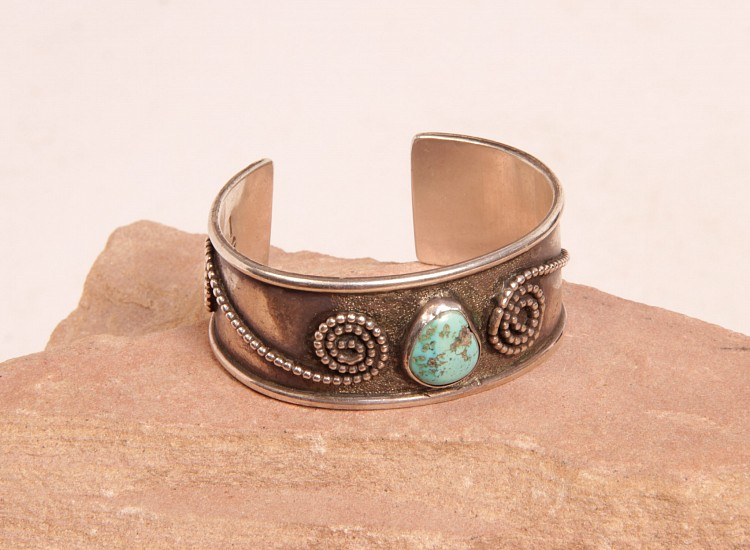 "08 - Jewelry-New, Navajo Cuff Bracelet: Light Turquoise Setting, Swirl Motif with Silver Beads (5.5"" + 1"" gap) c. 1960s, Sterling Silver and Turquoise"