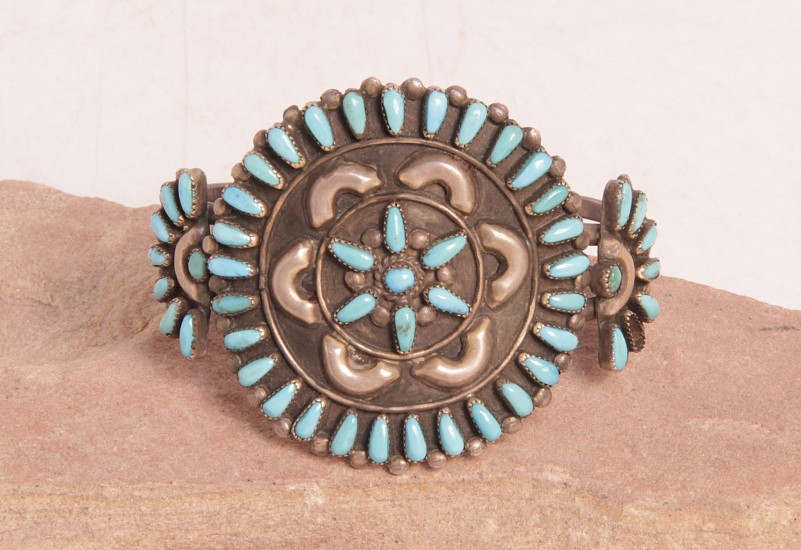 "07 - Jewelry-Old, Zuni Cluster Style Cuff by Don and Viola Eriacho: Starburst, Turquoise (5.5"" + 1"" gap) c. 1950, Sterling Silver and Turquoise"