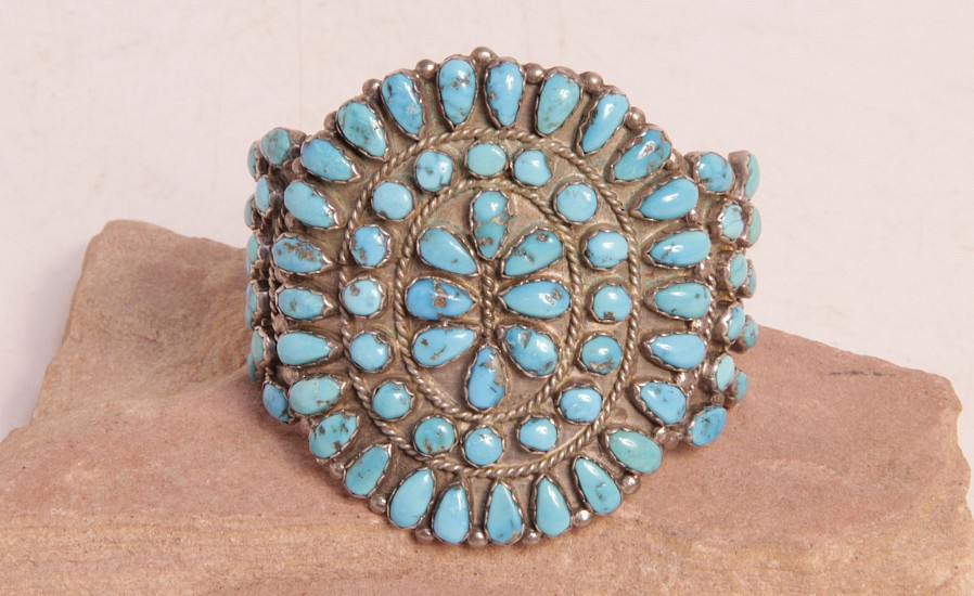"07 - Jewelry-Old, Cluster Cuff Hallmarked ""JN"": Turquoise, Three Rods (5 3/4"" + 1 1/8"" gap)"