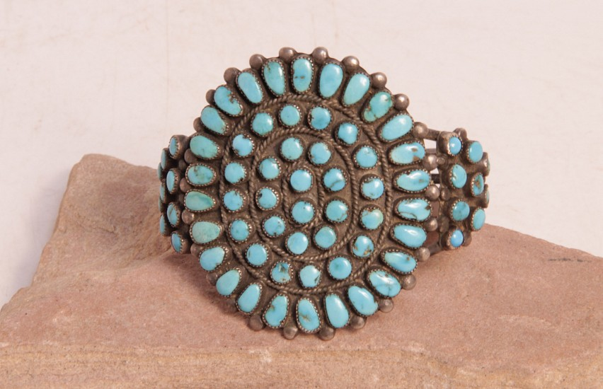 "07 - Jewelry-Old, Navajo Cluster Style Cuff: Turquoise, Three Rods (5.5"" + 1.25"" gap) c. 1950, Sterling Silver and Turquoise"