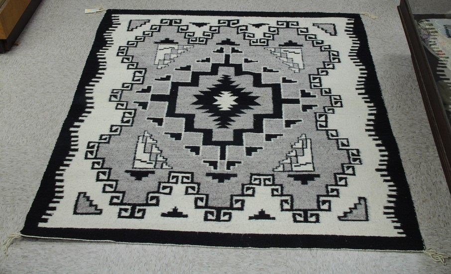 "01 - Navajo Textiles, Navajo Rug by Betty Rose Grantz: Crystal, Natural Tones, Black Border (53"" x 60"") Handspun wool"