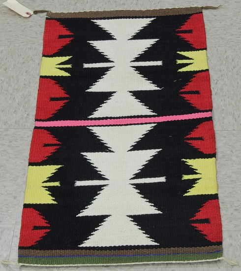 "01 - Navajo Textiles, Navajo Rug: Gallup Throw (17"" x 34"") Handspun wool"