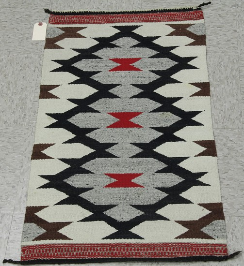 "01 - Navajo Textiles, Navajo Rug: Gallup Throw (19"" x 39"") Handspun wool"